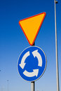 Roundabout road sign resolution priority Stock Images