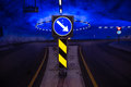 Roundabout in underground tunnel with light signal norway hardangerbrua signals the lights are really bright because Royalty Free Stock Photos