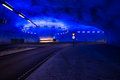 Roundabout in underground tunnel with light signals norway hardangerbrua the lights are really bright because Stock Image