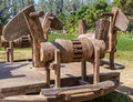 Roundabout wooden horse antique in local playground in thailand Stock Images