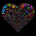 Rounded Arrow Fireworks Heart