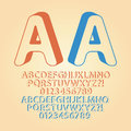 Rounded downwards isometric alphabet and digit vec set of vector Stock Image