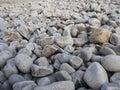 Rounded rocks on coast and beach area asturias spain Stock Photo