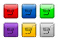 Rounded square button shopping Royalty Free Stock Photo