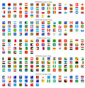Rounded square vector national flag icons full collection of world Stock Images