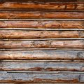 Roundish Rustic Log Wall Horizontal Timber Background. Natural texture part facade of a log wall of cabin or house Royalty Free Stock Photo
