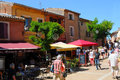 Roussillon beautiful red streets of the ochre city provence Royalty Free Stock Image