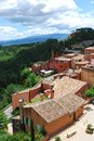 Roussillon village france houses in historical ocher of and landscape provence Royalty Free Stock Image