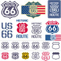 Route 66 sign set Royalty Free Stock Photo