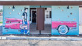 Route 66: Elvis Presley and pink Cadillac Mural, Safari Motel, Tucumcari, NM Royalty Free Stock Photo