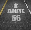 Route 66 painted on asphalt