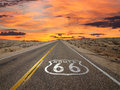 Route pavement sign sunrise mojave desert in california s Royalty Free Stock Photography