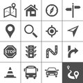 Title: Route planning and transportation icons