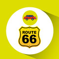 Route 66 road sign sedan red Royalty Free Stock Photo