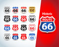 Route 66 sign set. Isolated route 66 emblems, badges, t-shirt apparel graphics. Isolated illustrations