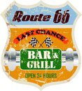 Route sixty six bar and grill sign retro restaurant vector illustration Stock Image