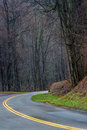 Route in smoky mountain view of the mountains national park during winter time Royalty Free Stock Image