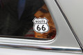 Route-66-Sticker on the window of an old car Royalty Free Stock Photo