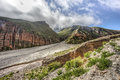Route to iruya in salta province argentina on it s way a small town northwestern located the altiplano region along the river the Stock Photo