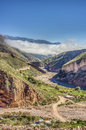 Route to iruya in salta province argentina on it s way a small town northwestern located the altiplano region along the river the Stock Photography