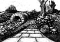 The route to nowhere - Fairytale story book Illustration