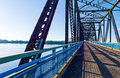 Route u s a missouri st louis area the old chain of roks bridge on the mississippi river Stock Images