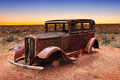 Route vintage car relic displayed near the north entrance of petrified forest national park in arizona usa Royalty Free Stock Photography