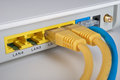 Router network with ethernet cables Stock Images