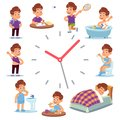 Daily routine clocks. Daily routine clocks. Schedule of happy boy life from morning breakfast at home eating school to Royalty Free Stock Photo
