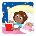 Adorable little black girl reading bedtime story to her funny toys Royalty Free Stock Photo