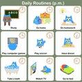 Daily Routines at p.m. sheet. - Worksheet