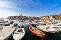 Rovinj croatia september small boats inside the harbor of an old venetian town rovinj croatia Royalty Free Stock Images