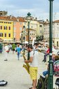 ROVINJ, CROATIA, SEPTEMBER 27, 2017: Street artist playing music
