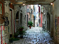 Rovinj foreshortening a street in the mediterranean city of istria croatia Stock Photo