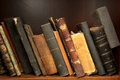 Row of antique books old in library Royalty Free Stock Photography
