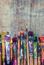 Row of artist paint brushes closeup Royalty Free Stock Photo