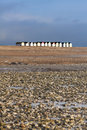 Row of beach huts goring beach isolated on goreing foreshore Stock Photos