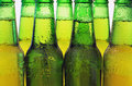 Row of beer bottles green Royalty Free Stock Photo