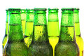 Row of beer bottles green Royalty Free Stock Images