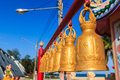 Row of bells at chinese shrine payoon beach in rayong province thailand Royalty Free Stock Photo