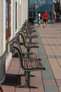 Row of Benches on Terrace Stock Photo