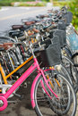 Row of Bicycle rentals Royalty Free Stock Photo