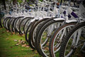Row bicycles Stock Image
