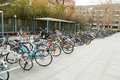 Row of bicycles university in beijing china the bicycle is the main means transport students Royalty Free Stock Photography