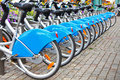 Row of bikes / bicycles Royalty Free Stock Photos