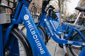 Row of bikes - Melbourne Bike Share scheme Royalty Free Stock Images