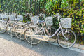 Row of bikes parking Stock Photography