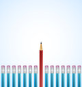 Row of blue pencils with one selected red realistic vector illustration Stock Photos