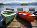 Row boats at a lake Stock Images