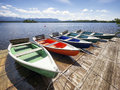 Row boats at a lake Stock Photos